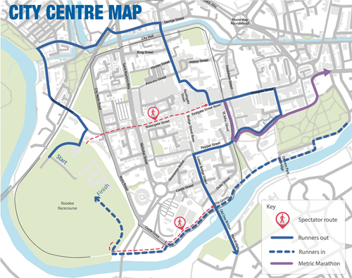 Map showing city centre spectator points