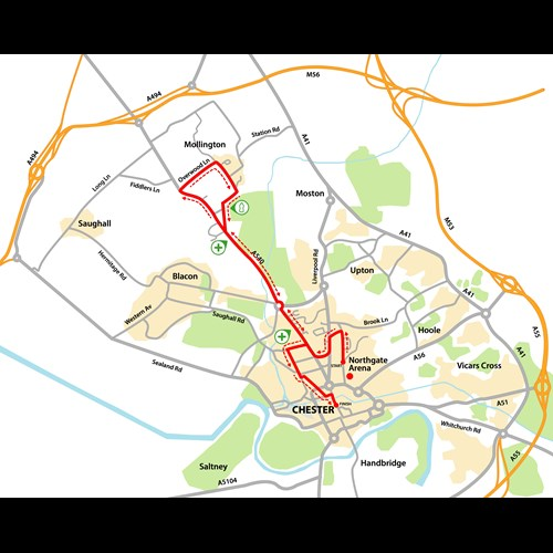 Chester 10K route map